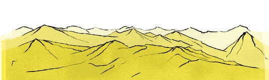 Landscape with mountain ranges. Illustration of landscape with mountain ranges stock illustration