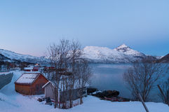 Landscape of Mountain reflection, Ersfjordbotn, Norway Royalty Free Stock Photography