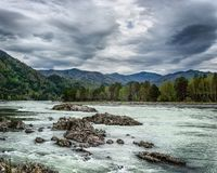 Landscape with a mountain river stock photo