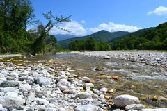 Landscape mountain river. Rocks White Mountains of Abkhazia Royalty Free Stock Image