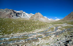 Landscape of mountain river in Tien Shan Stock Photography