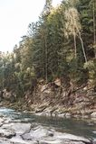 Landscape of a mountain river. Ukraine Stock Photos