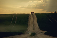 Landscape with mountain road and two motorbikes. Empty road Royalty Free Stock Photo