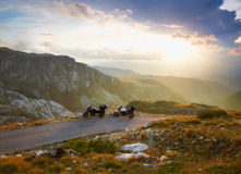 Landscape with mountain road and two motorbikes Royalty Free Stock Photography
