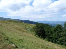 Borzhava Mountain Range of the Ukrainian Carpathians near the village of Volovets, Transcarpathian region. Ukraine. 08. 07. 2016. Royalty Free Stock Photo