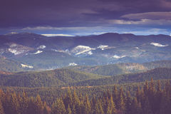Landscape in the mountain: snow covers the wooded peaks. Royalty Free Stock Photo
