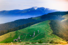Landscape in the mountain:snowy tops and green valleys. Stock Photo