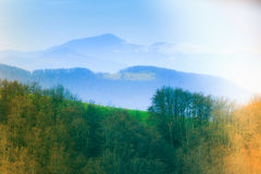 Landscape in the mountain:snowy tops and green valleys. Royalty Free Stock Photos