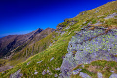 Landscape with mountain trail. And clear blue sky Royalty Free Stock Photography