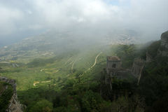 Landscape of a mountain valley with a aerial view.  Sicily Royalty Free Stock Photo