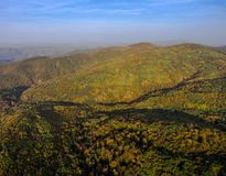 Landscape of mountain valley with autumn forest. Royalty Free Stock Photo