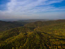 Landscape of mountain valley with autumn forest. Royalty Free Stock Images