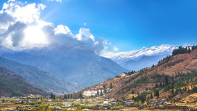 Landscape of mountain and valley country,Thimphu city in Bhutan Royalty Free Stock Photos