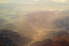 Landscape of Mountain.  view from airplane window Stock Photography