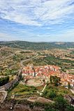 Landscape with mountain view of the old town Morella in Spain. Stock Photo