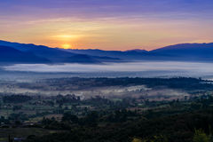 Landscape of Mountain views and Sunrise Stock Image