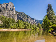 Landscape of mountain and water in Yosemite National Park Stock Photo