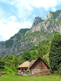 Landscape in mountains. Landscape with an old house in the mountains Royalty Free Stock Photos
