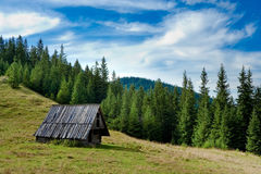 Landscape - mountains. Landscape summer - chalet in mountains Royalty Free Stock Photo