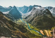 Landscape Mountains aerial view valley and river in Norway Royalty Free Stock Image