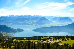 Landscape with mountains around harbor Royalty Free Stock Image