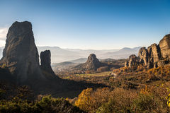 Landscape of mountains around  Meteora, Greece in sunlight Royalty Free Stock Photo
