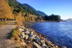 Landscape of mountains and beach in Porteau Cove Provincial Park Stock Photo