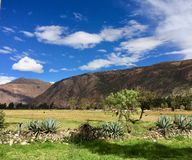 Landscape with mountains and blue sky in Peru stock photography