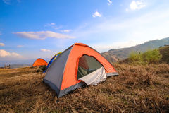 Landscape in the mountains camping. Stock Images