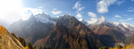 Landscape of mountains Caucasus region in Russia. Mountain peaks in clouds. Caucasus. Dombay Royalty Free Stock Image