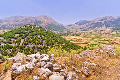 Landscape and mountains at central part of Crete island Royalty Free Stock Image