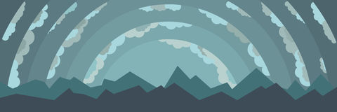 Landscape with mountains and clouds. Abstract cartoon landscape with mountains and clouds Stock Images