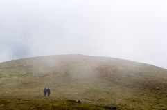 Landscape in mountains with clouds and fog. An a foggy day stock image