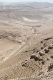 Desert Mountains and Dry River Landscape. Landscape of a mountains and a dry river at the Judean desert in Israel from high with its special geological forms Royalty Free Stock Photo