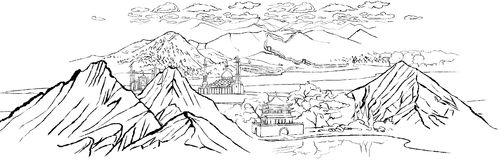 Landscape with mountains, dunes, chinese wall, shinai drum tower. Illustration of landscape with mountains, dunes, chinese wall, shinai drum tower and mosques stock illustration