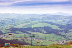 Landscape of  mountains with elevator Royalty Free Stock Photo