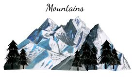 Landscape of the mountains Everest with tree silhouette. Watercolor hand drawn illustration in realistic style. Concept of nature