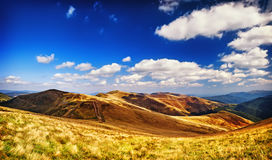 Landscape mountains and field under blue sky Stock Image