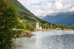 Landscape in Norway. Landscape with mountains, fjord and village in Norway Royalty Free Stock Photography