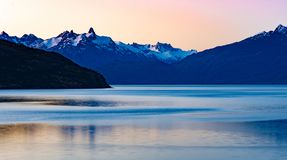 Landscape of Mountains and General Carrera Lake from Puerto Guadal. Patagonia of Chile in the Region of Aysen. Chile. Landscape of mountains and General Carrera royalty free stock photo