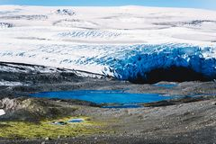 Landscape with mountains glacier and lake. Stock Photos