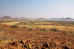 Landscape of mountains and grasslands, Palmwag. Landscape of mountains and grasslands in Palmwag nature reserve, Namibia Royalty Free Stock Photo