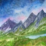 Landscape with mountains and green field. royalty free illustration