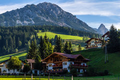 Landscape of mountains, green field, sky, forest in Filzmoos, Salzburg, Austria Royalty Free Stock Photography