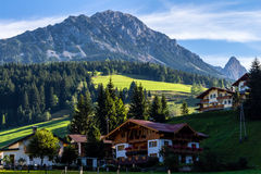 Landscape of mountains, green field, sky, forest in Filzmoos, Salzburg, Austria Royalty Free Stock Image