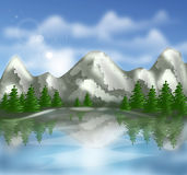 Landscape with mountains illustration Stock Images