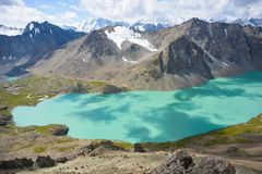Beautiful mountain lake. Landscape in mountains of Kyrgyzstan Stock Image