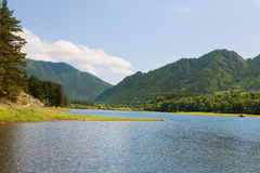 Landscape with mountains lake Stock Photos