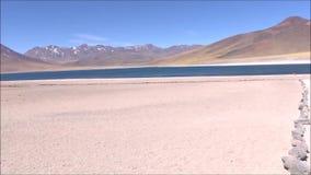 Landscape of mountains,lake and valley Atacama desert Chile. Landscape of mountains, salt flats and valley in Atacama desert Chile stock video
