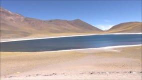 Landscape of mountains,lake and valley Atacama desert Chile. Landscape of mountains, salt flats and valley in Atacama desert Chile stock video footage